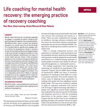 Life coaching mental health recovery. Article published in the Advances of Psychiatric Treatment journal. Principal author: Dr Rani Bora.